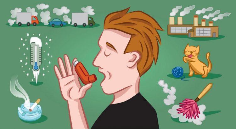 Mand der bruger en astma inhalator med forskellige årsager til astma i bagrunden