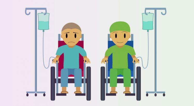 To cancer patienter i kørestole ved siden af hinanden