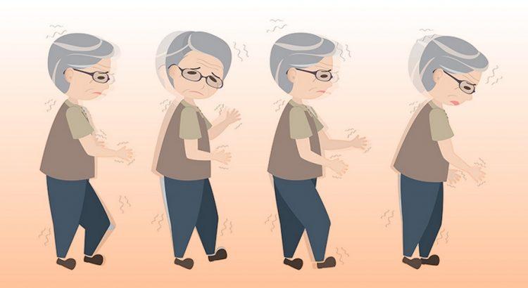 En ældre person med gangbesvær og rystelser