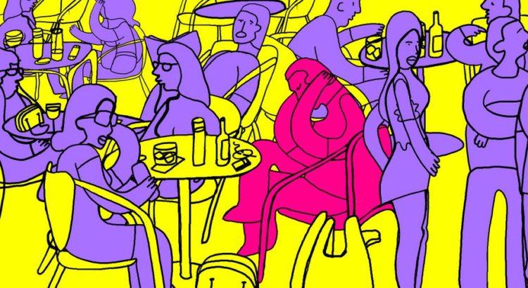 Illustration af en bar med mange mennesker