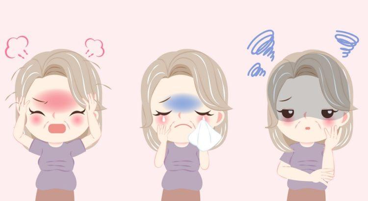 En kvinde med forskellige symptomer på overgangsalder