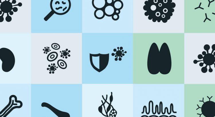 Firkanter med forskellige symboler forbundet til autoimmune sygdomme og immunsystemet