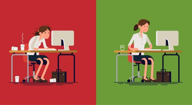 Et opdelt billede med en stresset kvinde og en ikke stresset kvinde