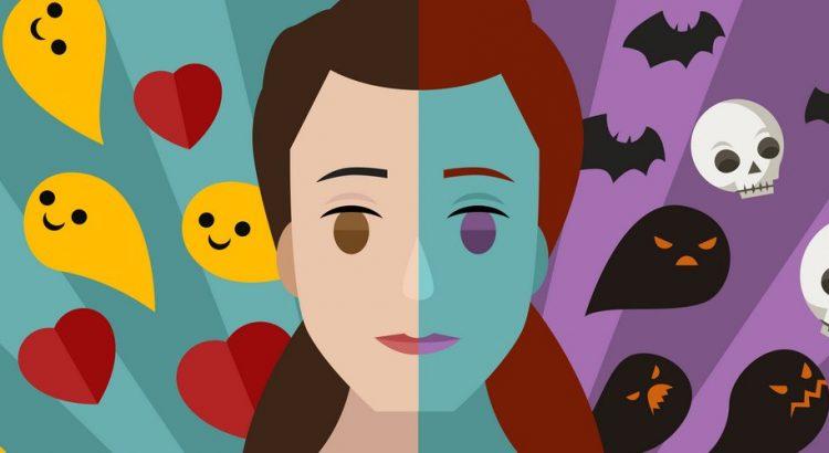 Kvinde med et positivt og negativt sind